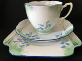 Grafton China Art Deco bluebells trio